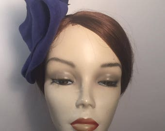 Vintage Inspired Velour Free form  Velour Fascinator with coque feathers