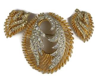BSK Clear Rhinestone Brooch Earrings Demi Parure Jewelry Set