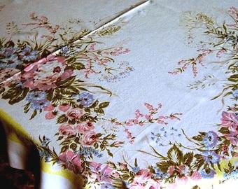 Retro vintage TABLECLOTH Kitchen 1960s Sailcloth Cotton Print Flowers Yellow Garden