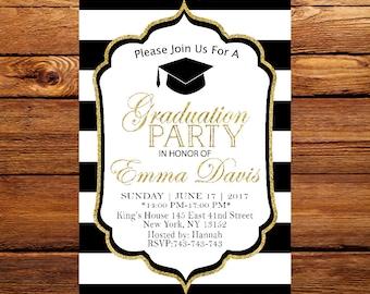 Graduation Invitation, College Graduation Invitation, Class of 2017, High School Graduation Party Invitation, Elegant Graduation 7