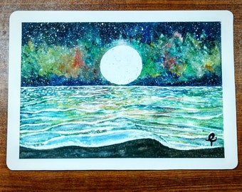 A4 Watercolor Art Print: Aurora Night Sea