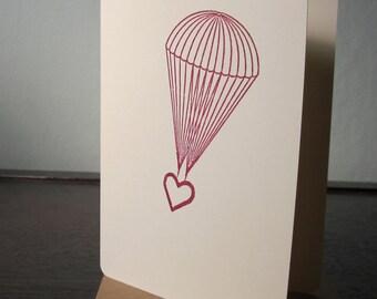 Parachute coeur - carte sérigraphiée Gocco