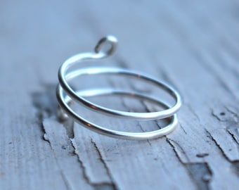 Dainty Double Wrap Silver Wire Knuckle Ring