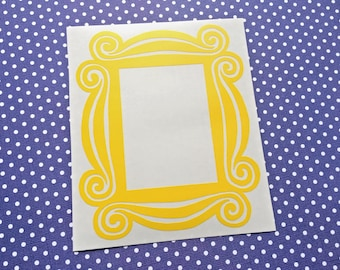 FRIENDS door decor - LARGE - Yellow Frame INDOOR vinyl decal - Interior Decor - Friends-inspired, spyhole, Friends decal, peephole