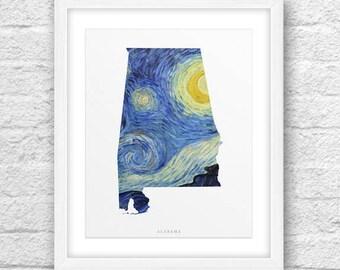 Alabama Map, Alabama Print, Alabama Art, Alabama State, Alabama Van Gogh, Van Gogh Style Art, Alabama Printable,InstantDownload,Van Gogh Art