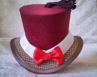 Fez Hat, Fez Mini Top Hat, Miniature Fez, Fez Fascinator, Geek Fascinator, Geek Hair Accessory, Geek Mini Top Hat, Tweed Mini Top Hat, Fez