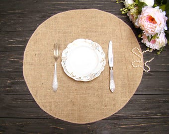 Round Table Placemat Circular Wedding Centerpiece Burlap Overlays Table Mat Country Table Topper Rustic Chic Decor Holiday Table Decor