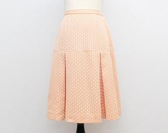 60s High Waisted Peach A Line Skirt - Size Small Vintage 1960s Knee Length Skirt