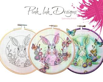 Animal embroidery pattern. Hare, rabbit hoop wall art.