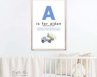 Art Print - Birth Poster, Little Builder in Training (W00039)