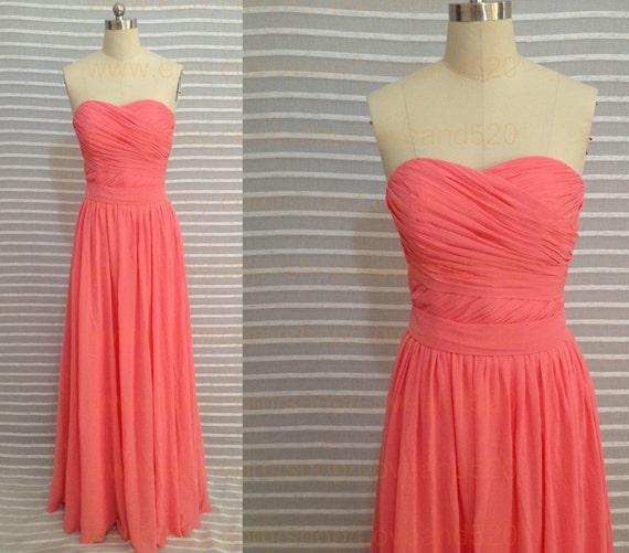 Coral long chiffon prom dresslong chiffon bridesmaid