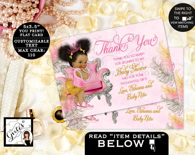 """Pink and Gold Thank you baby shower cards, African American note cards thank you flat customizable text. {5x3.5"""" 4 Per/Sheet}"""