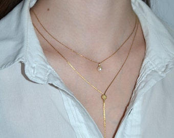 LAYERING NECKLACE // Gold Layered Necklace - Double Layer Necklace - Drop Pearl Necklace - Everyday Necklace - Gold Necklace Set of 2