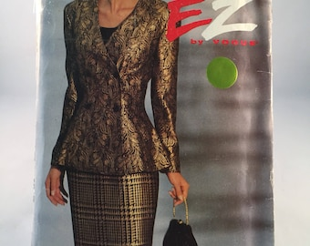 1992 Vogue Ultra Ez Misses Double Breasted Jacket and  straight Skirt Pattern Size 18-20-22