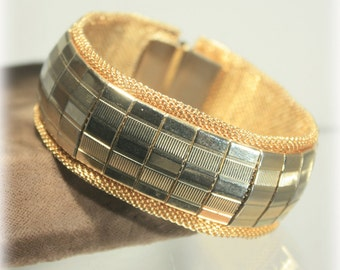 Modernist Mirrored Bracelet, Mesh Metal Cuff, Cuff Bracelet, Gold Silver Bracelet, Mirror Panel Bracelet, Modern Wide Cuff Bracelet