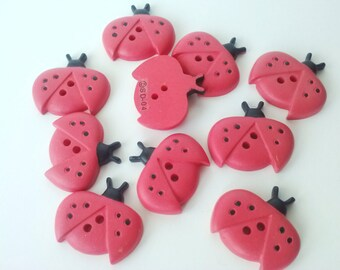 1/2 price or more off everything in store! See Shop Announcement! Lady Bug Buttons - 15/16 inch - YOU PICK QUANTITY - 5 to 10