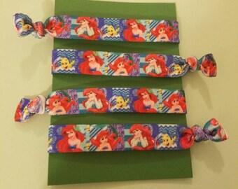 Set of 4 Ariel elastic hair ties
