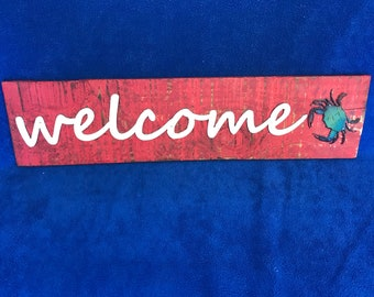Welcome Wall Sign with Crab   Crab Welcome Sign