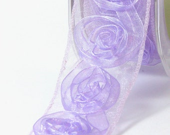 Lavender 1.5 Inch Sheer / Woven Rosette Ribbon by the Yard