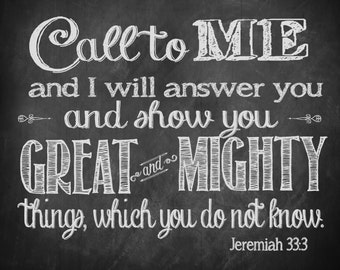 Large Format 20 x 16 inches Chalkboard Printable  Jeremiah 33:3