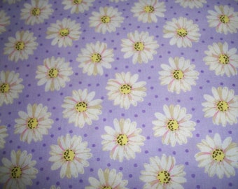 CLOSEOUT  PURPLE Daisies floral print cotton FABRIC 1 yard