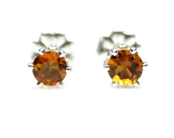 Orange Citrine Stud Earrings Silver Citrine Earrings 4MM Round Orange Citrine Post Earrings November Birthstone Madeira Citrine Jewelry