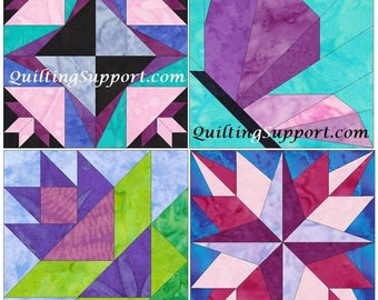 Spring Set 1 - 10 Inch Foundation Paper Piecing Quilting 4 Block Patterns PDF