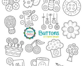 Buttons Digital Stamp Pack - Black and White / Cute Clip Art / Sewing Clipart / Button Doodles / Button Crafts Clipart / Button Flowers
