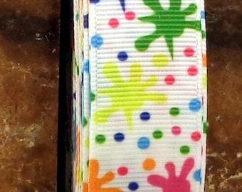 """2 Yards of 7/8""""  Bold Paint Splatter Print Grosgrain Ribbon"""