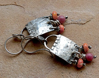 Fiesta! Rustic Textured Sterling Silver Earrings Orange Spiny Oyster & Rosy Rhodonite Dangles . Rustic Southwest Boho Tribal Style Jewelry