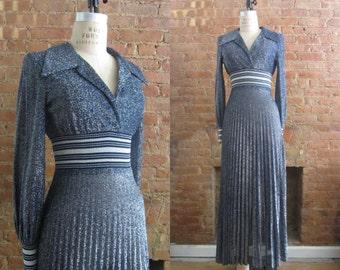 1970s Fred Perlberg metallic maxi dress