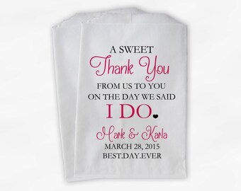 Wedding Candy Buffet Treat Bags - A Sweet Thank You Black & Dark Pink Personalized Favor Bags with Bride and Groom's Names and Date (0085)
