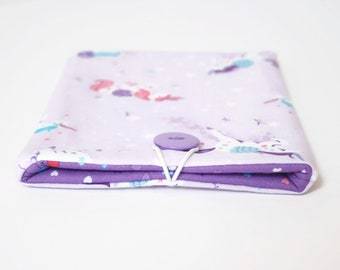 Unicorn iPad Pro Case 9.7 10.5 12.9, Sleeve Cover for Apple iPad 2017 Smart Keyboard and Pencil - Handmade in UK - Cute Pink Purple Unicorns