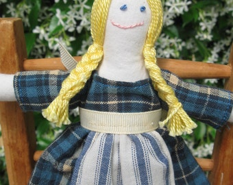 Hand made small rag doll -  Alice in blue plaid dress with striped apron