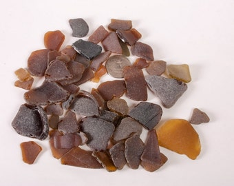 Genuine brown sea glass, More than 50 craft Sea Glass, bulk beach glass, craft sea glass, brown beach glass, sea glass shards