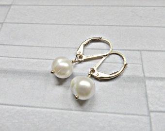 Pearl earrings, pearl gold earrings, Pearl gold lever backs, Bridal earrings, Wedding earrings, Pearl bride earrings, Made in the UK