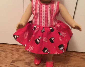 Ventines day dress for 18 inch dolls like American girl