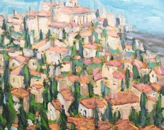 "Village in Provence 18""x18""x1.5"" acrylics on canvas original painting"