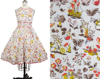 1950s Dress // Castle Ship Fruit Countryside Novelty Print Cotton Full Skirt Dress Xsmall