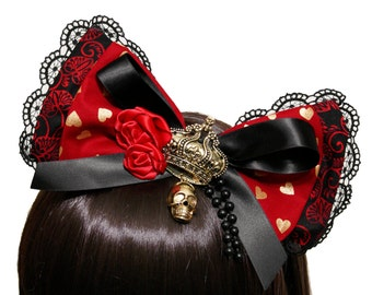 Alice in Wonderland Inspired Red Queen of Hearts Bow Headband - Made to Order