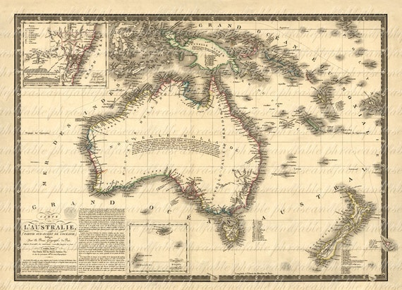 Map of australia from the 1800s 067 down under travel vacation map of australia from the 1800s 067 down under travel vacation adventure island oz cartography old world ancient gumiabroncs Gallery