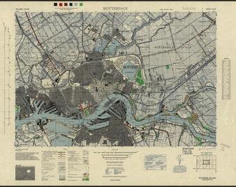 Poster, vele maten beschikbaar; Rotterdam, Holland 1943 Amerikaanse leger kaart
