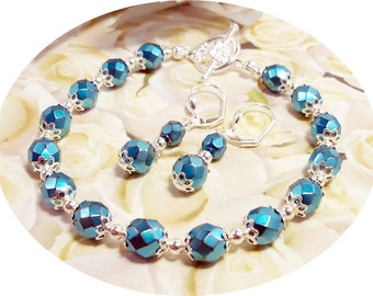 Bracelet and Earrings, Aqua, Blue, Bridesmaid Jewelry, Wedding, Spring Fashion, Summer Fashion
