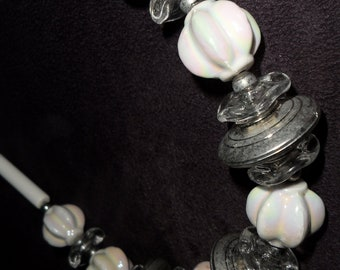 1980s LARGE luminous GLASS faux Mother of Pearl beads & silver and clear Lucite beads 31 inch necklace