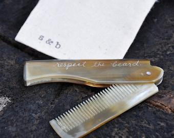 Beard comb personalized fine comb ox horn comb beard care beard oil moustache comb personalized comb personalized comb gifts for men