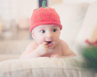 Strawberry or Blueberry Soft Knit Baby Hat, Baby Knit hat, sizes from Newborn