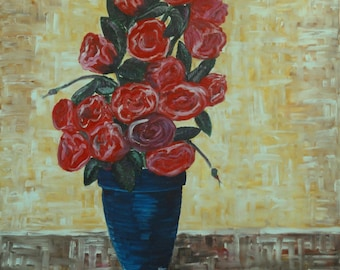 Oil Painting, Original Portuguese Art Work, Red Roses