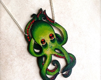 Tattoo Necklace Vintage Tattoo Octopus with Bright Blood Red Accents Necklace by Wicked Minky NEW