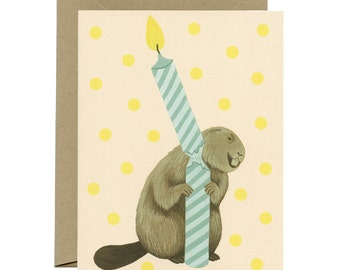 Beaver & Candle Birthday Card - ID: BIR006