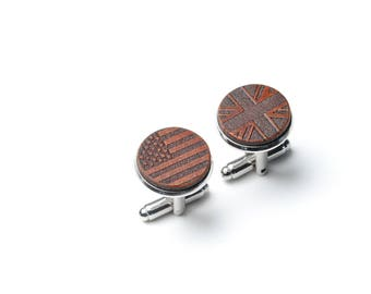 Dual Citizen, Half American, Citizenship, Gift, 4th of July, Naturalization, American flag cufflinks, British, Union Jack Cufflinks, USA